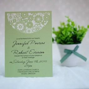 4_Partecipazione Matrimonio Laser verde con ricamo in alto