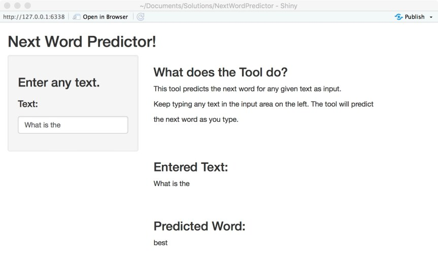 Next Word Predictor - Screen Shot