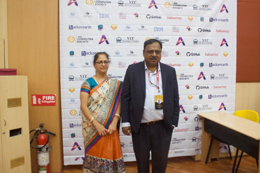 Deepshree and I in front of the Sponsor Board