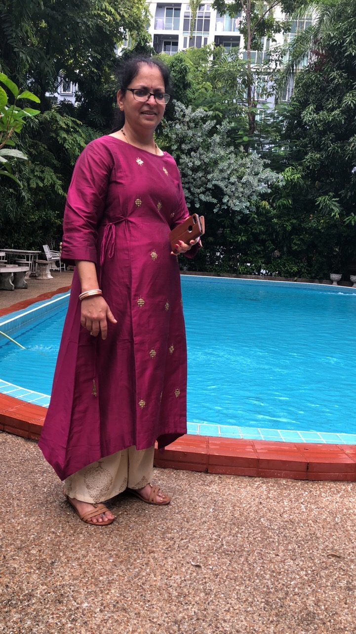 Deepshree revisiting the Swimming Pool at P&P Grand Residence in 2018