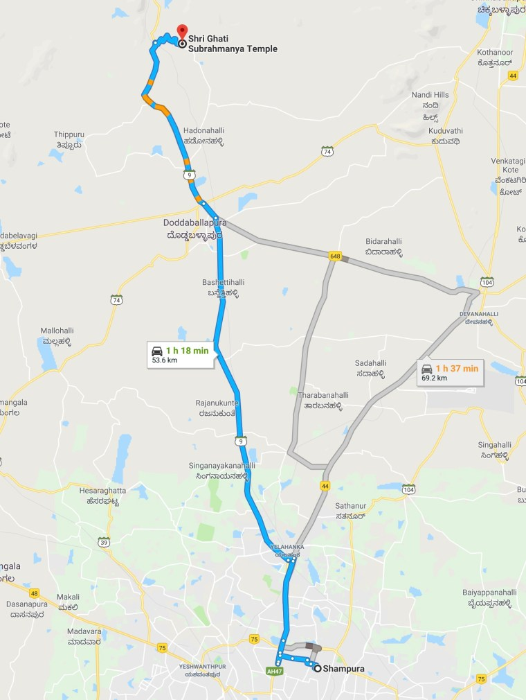 Bangalore To Ghati Subramanya Road Map