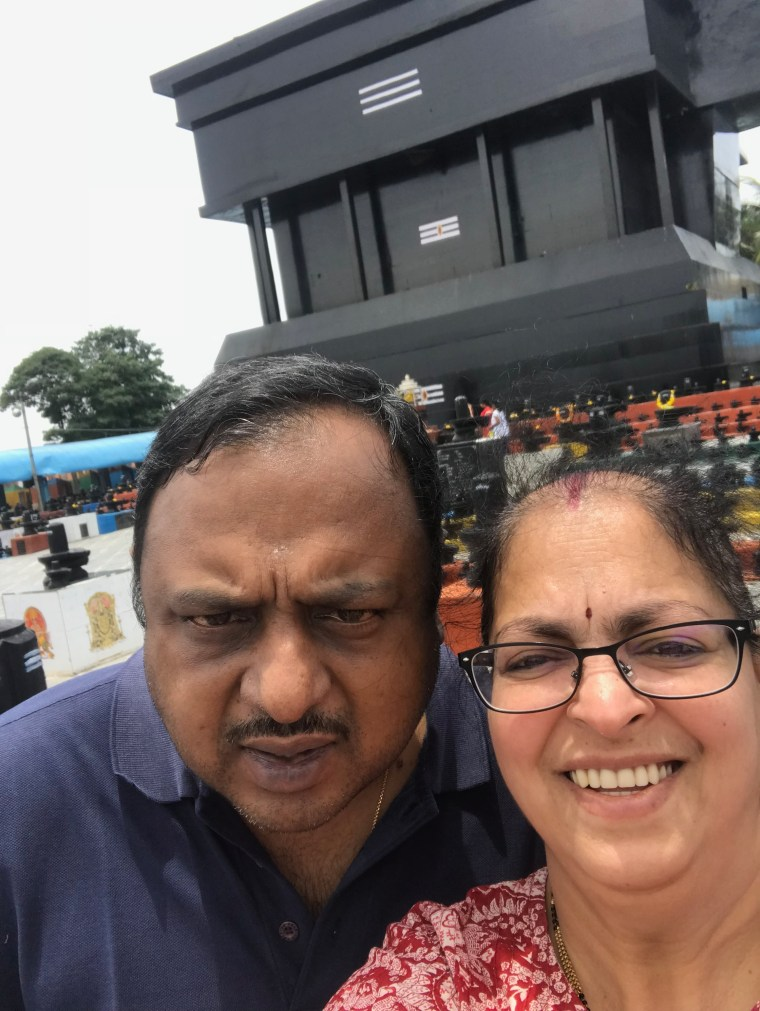 Our Selfie in front of the Huge Shiva Linga