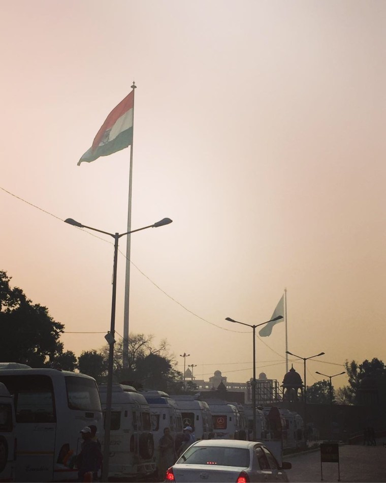 As we approached Wagah Border, we could see massive flags of India and Pakistan