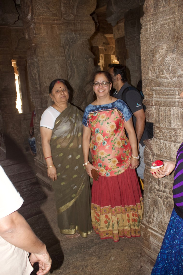 Maa and Deepshree inside the Lepakshi Temple