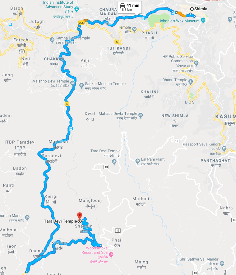 Route Map from Simla to Tara Devi
