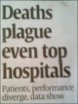 "Headline: ""Deaths plague even top hospitals"""