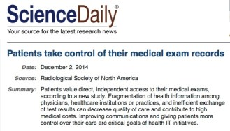 Screen capture of Science Daily headline