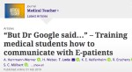 """Training medical students how to communicate with E-patients"""