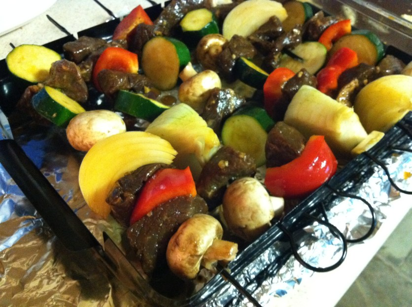 Yum, it's kabob time! Confession: I don't care for red peppers, but i add them for color :)