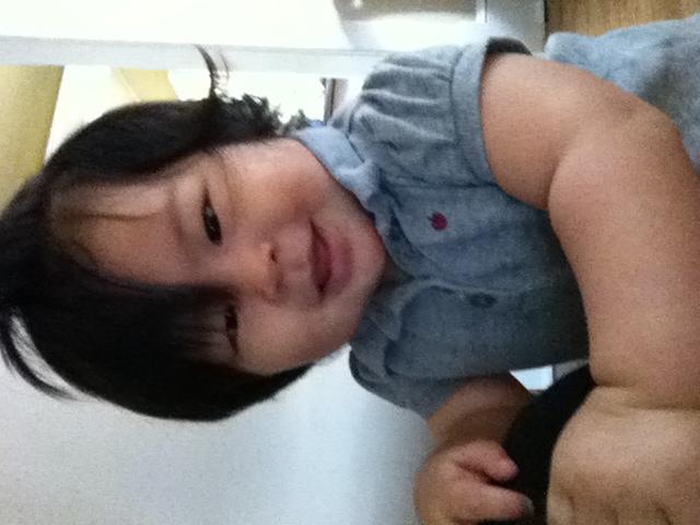 Smiling at herself. Haha