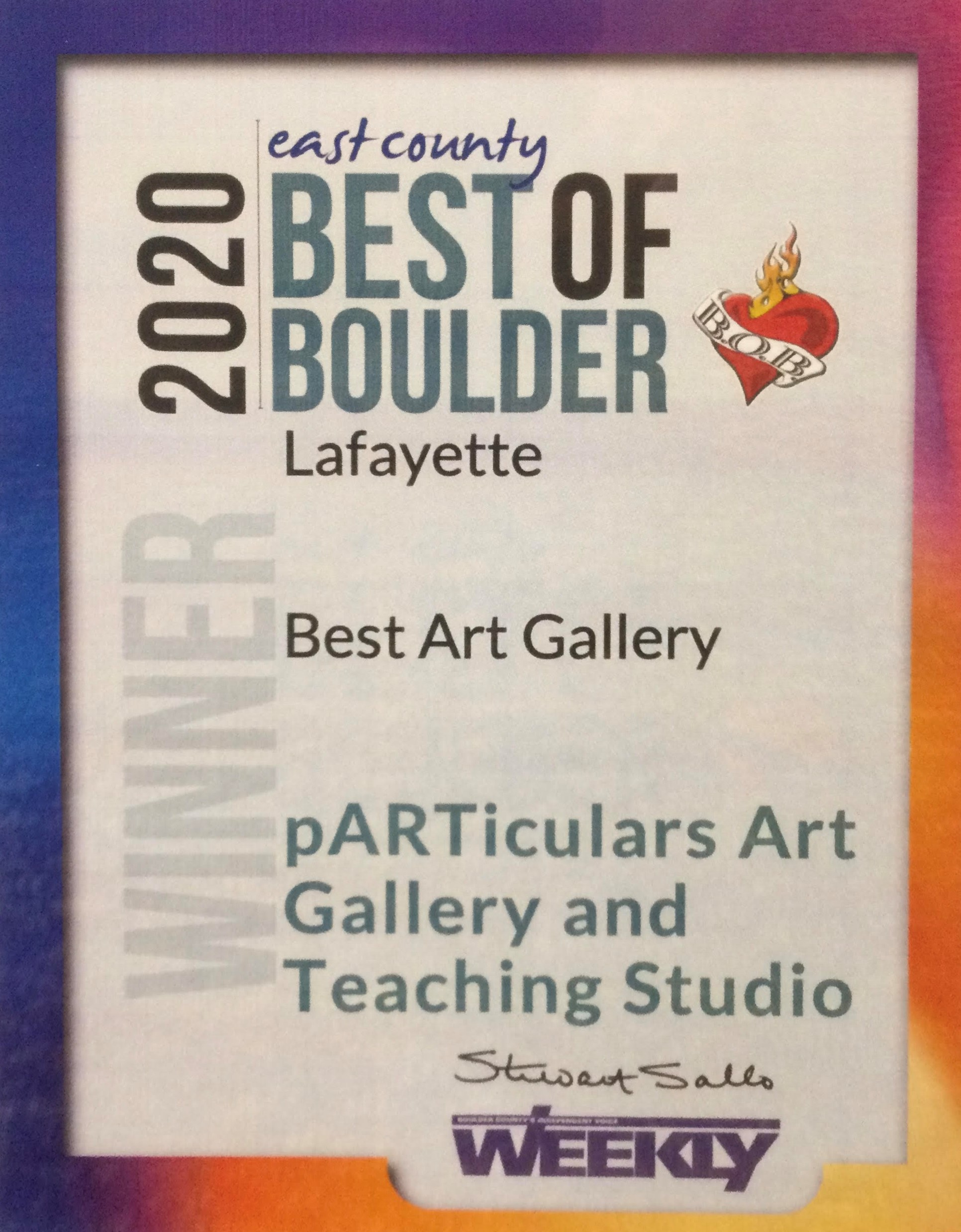 We have done it again! Voted Best Gallery in East Boulder County