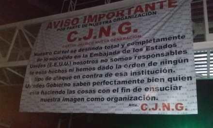 Con mantas, CJNG se deslinda de ataque al Consulado de E.U en Guadalajara