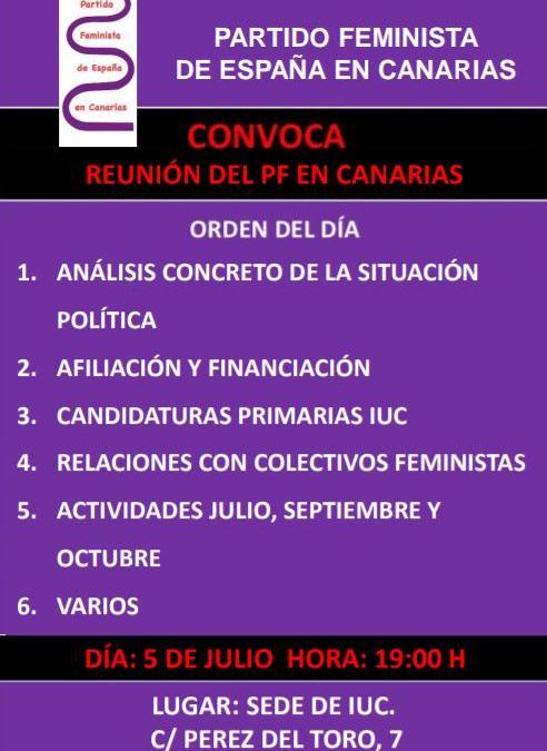 5 de Julio – Convocatoria Canarias Reunión PF en Canarias
