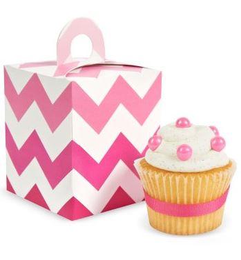 Pink Chevron Cupcake Boxes