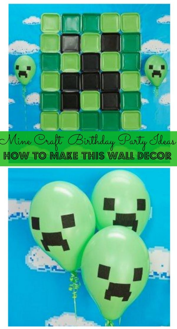 This DIY party decor idea for a Mine Craft Party is easy to make and turns your home into Mine Craft headquarters. If you're looking for Birthday party ideas for your Mine Craft crazed kiddo, you'll love this kit!