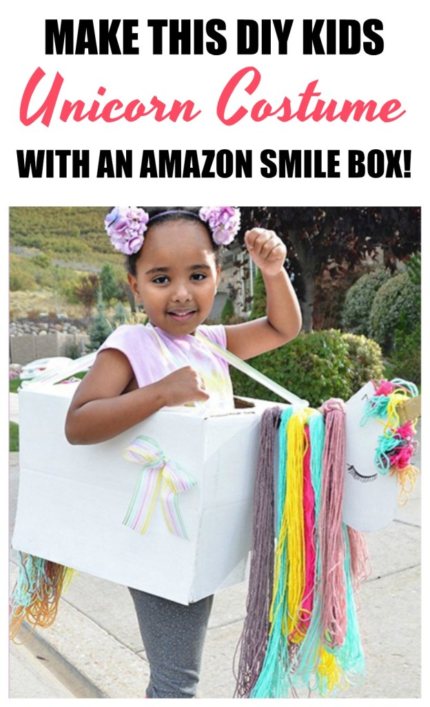 Looking for a last minute DIY Unicorn Costume for your little one? Here are step-by-step instructions, plus 2 other ideas for repurposing your Amazon box into a DIY Kids Costume! DIY Halloween Costume | DIY Kids Costume | Unicorn Costume