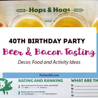 Take a look at this 40th Birthday Party theme for a bacon and beer tasting party! Hops & Hogs was the milestone birthday party theme and we've got some amazing decor, cake, food and activity ideas for you! 40th Birthday Ideas | Beer Themed Party | Bacon Tasting Party