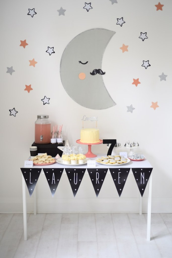 15 Girly Birthday Theme Ideas for Little Girls : Space Party with Moon and Stars
