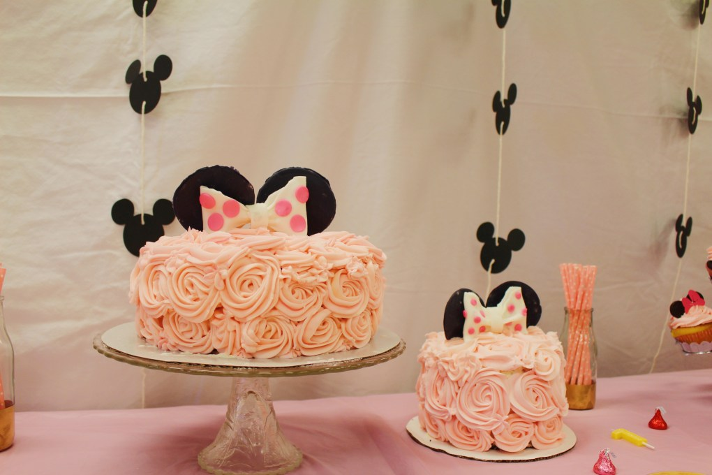 DIY 1st Birthday Pink Minnie Mouse Party Decorations and Cake! Backdrop and Dessert Table Setup. Smash cake setup, too.