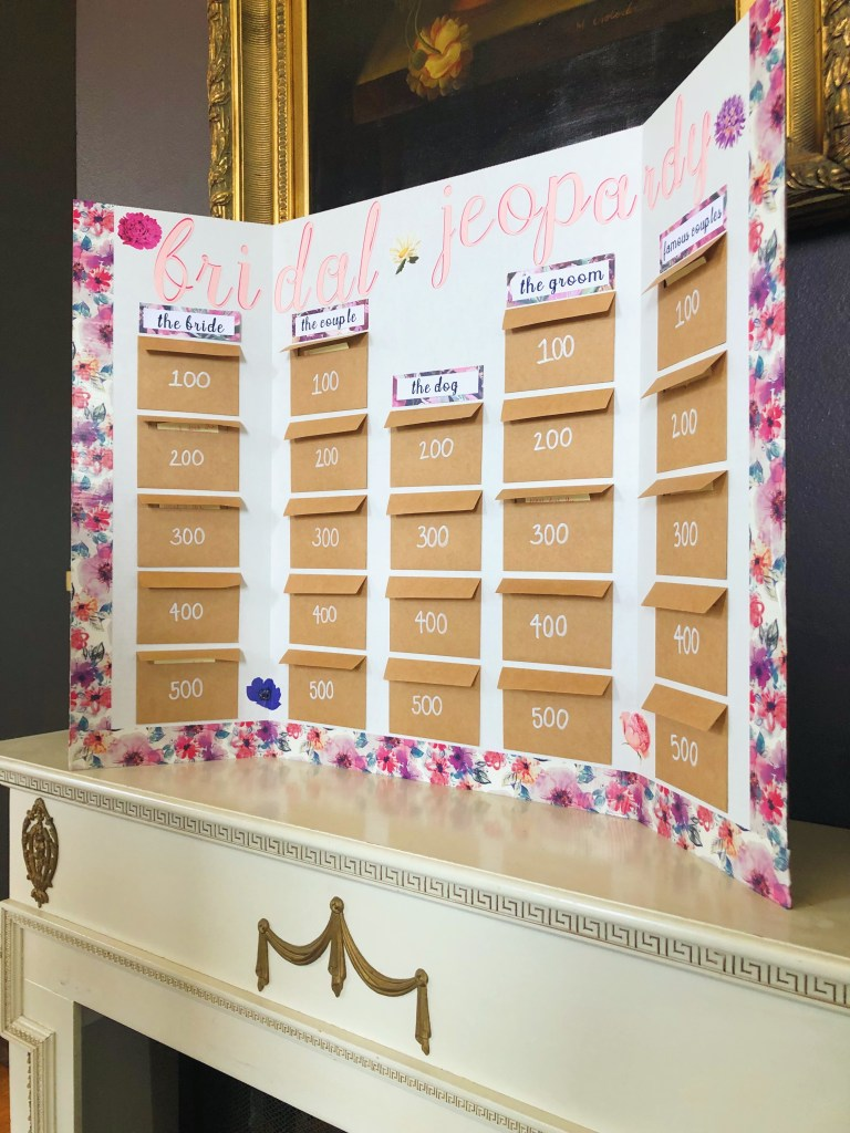 Bridal Shower Party Game: Bridal Jeopardy! Easy DIY bridal jeopardy board creates the perfect bridal shower activity!