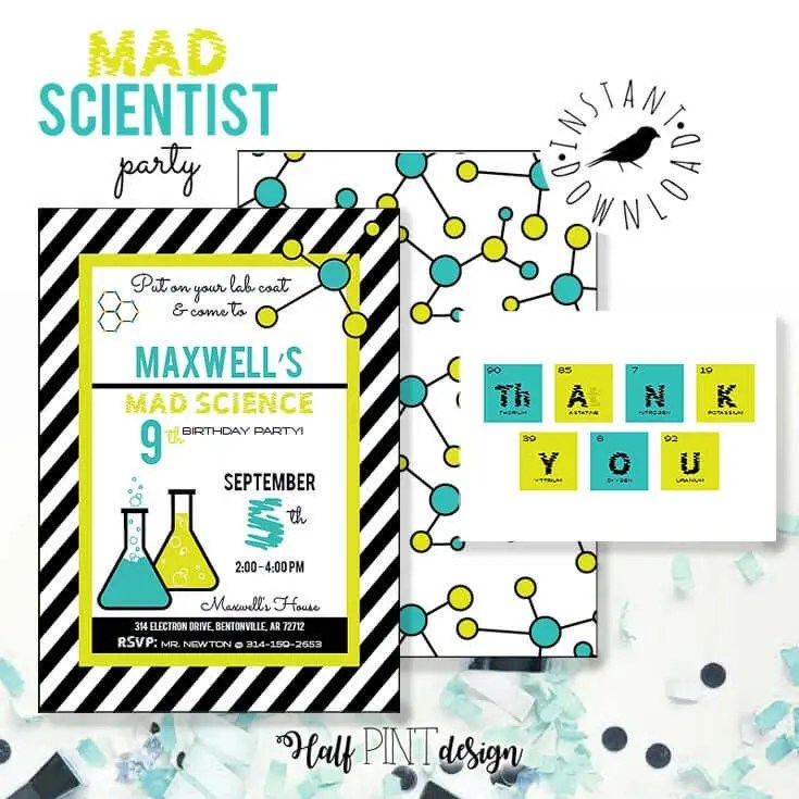 mad science birthday party invitations aqua and lime