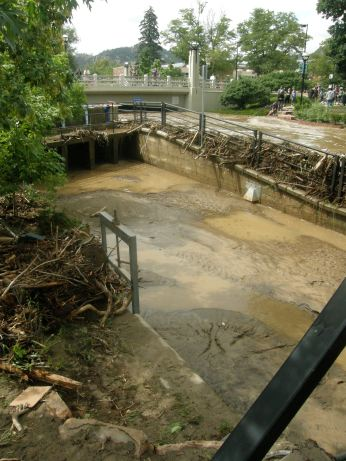 The City closed the headgate on this canal in an attempt to save the low bridges and structures along it. The creek piled up over six feet above the canal bed and dammed itself off from the very top with debris packed into the fence.