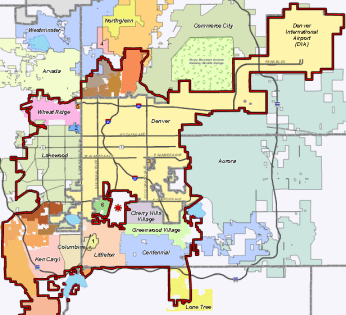 Denver Water's service area, outlined in red. The city proper is in beige. Image courtesy Denver Water.