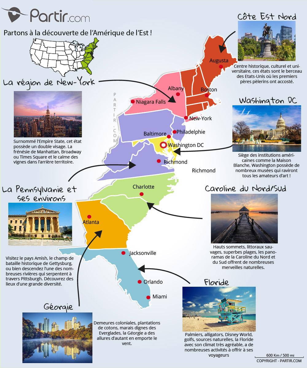 Carte Etats Des Etats Unis : carte, etats, Cartes, Touristiques, Plans, Côte, États-Unis, Régions,, Points, D'intérêts, Distances