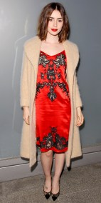 Channeling some Courtney Love? Only Lily Collins' can make that look indie and lovely, not messy