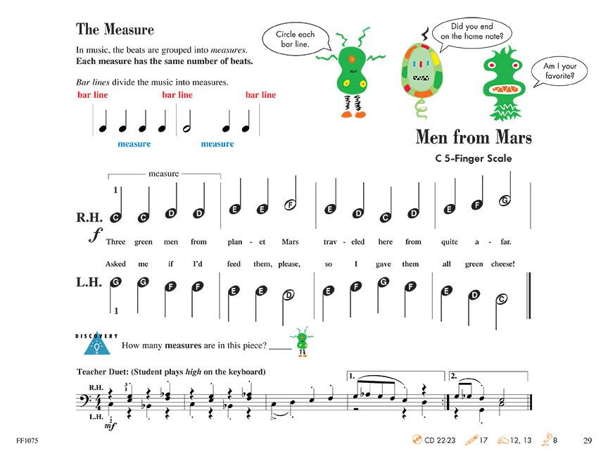 piano adventures ejemplo página