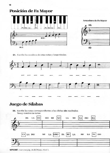piano básico bastien teoria nivel 1