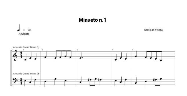 santiago velozo minueto nº1 partitura piano pdf