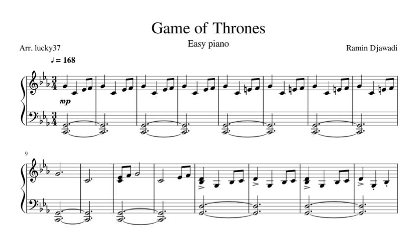 Juego De Tronos Partitura Piano Facil Pdf Partiturespiano
