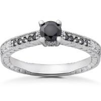 1/2 ct Black Diamond Vintage Engagement Ring 14k White ...