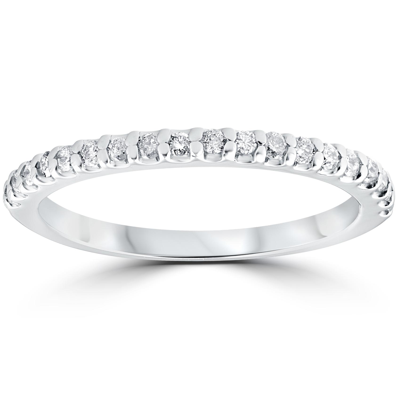 1/5 cttw Diamond Stackable Womens Wedding Ring 10k White