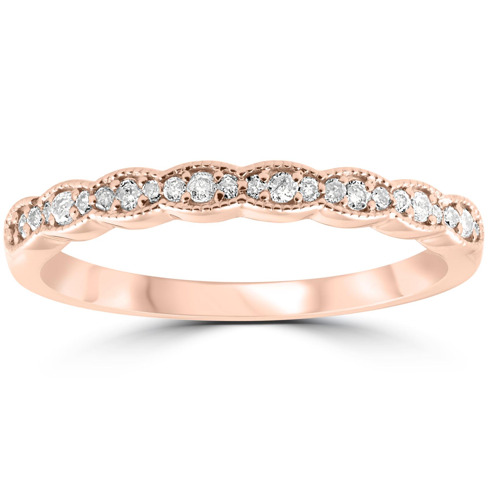1/5 cttw Diamond Stackable Womens Wedding Ring 14k Rose