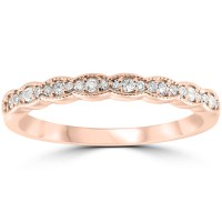1/5 cttw Diamond Stackable Womens Wedding Ring 14k Rose