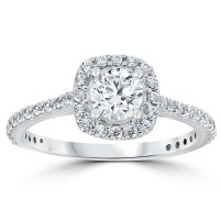 1 1/5ct TDW Cushion Halo Round Diamond Engagement Ring 14k