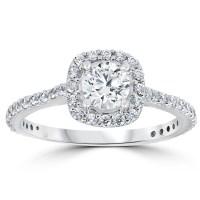 1 1/5ct TDW Cushion Halo Round Diamond Engagement Ring 14k ...