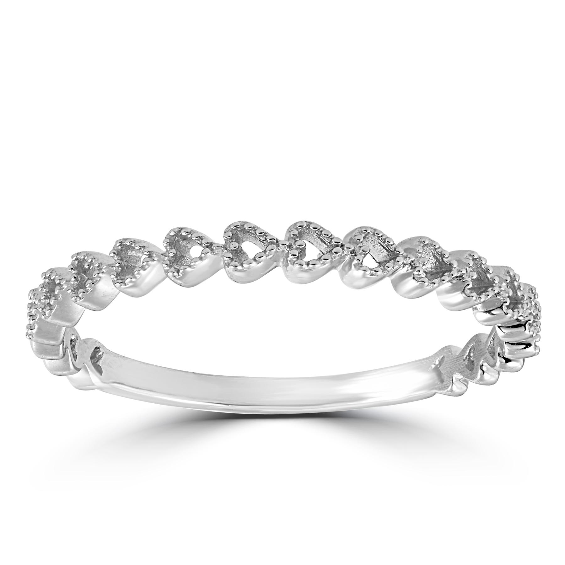 14k White Gold Heart Shape Stackable Womens Ring Wedding