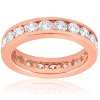 2 ct Diamond Eternity Ring 14k Rose Gold Channel Set ...