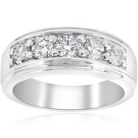 Channel Set Men's Wedding Ring Band SI/G 1 Ct Diamond 14K ...