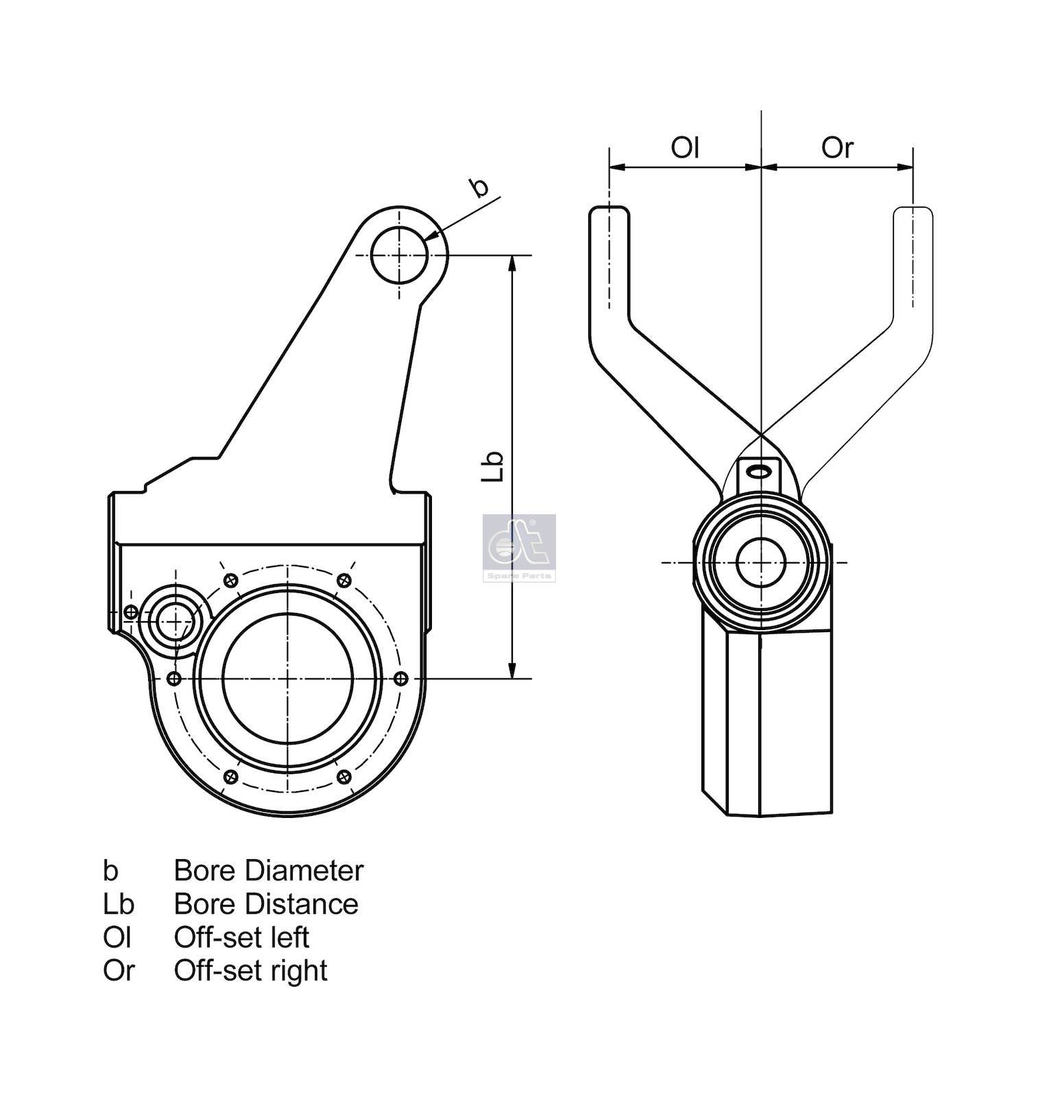 DT 4.60342 Slack adjuster, manual, left suitable for BPW