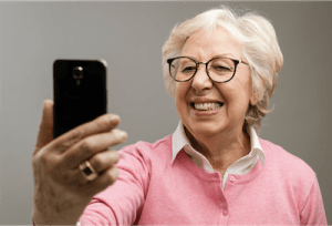 Woman on smartphone looking at screen