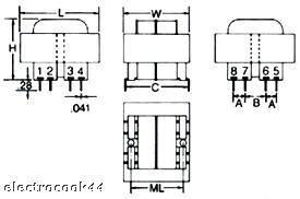 Pcb mount transformer 36 va rating 20VAC output voltage