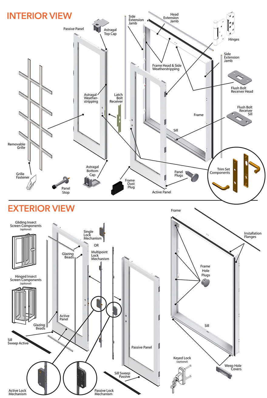200 Series Double Hinged Patio Door Parts Diagram