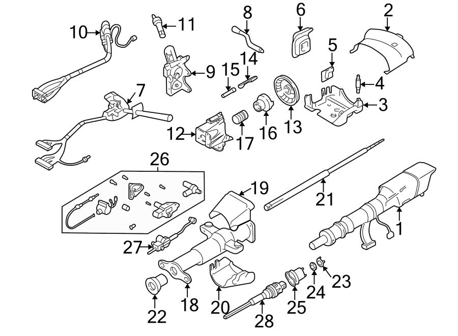 2002 GMC Sonoma Steering Shaft (Upper, Lower). COLUMN