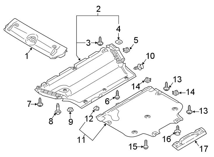 Audi S4 Radiator Support Splash Shield (Rear). 2017-21