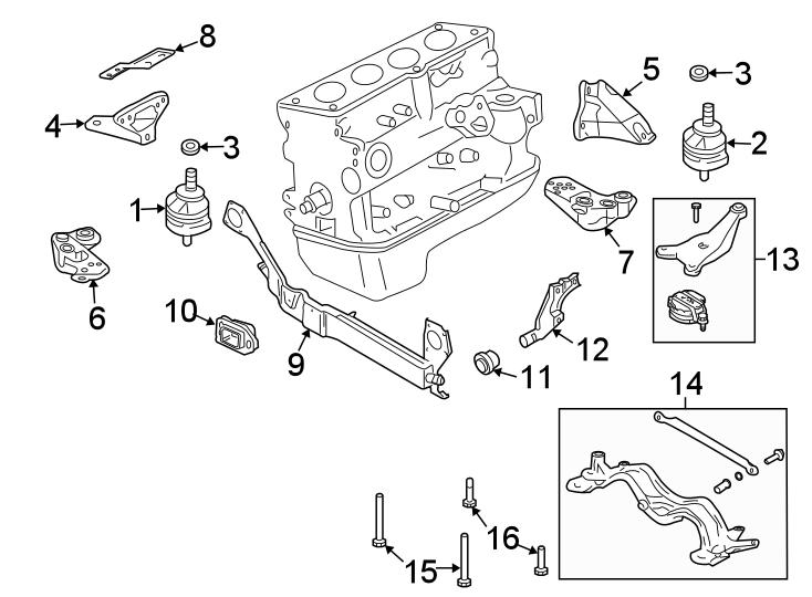 2006 Audi A4 Automatic Transmission Mount. Manual