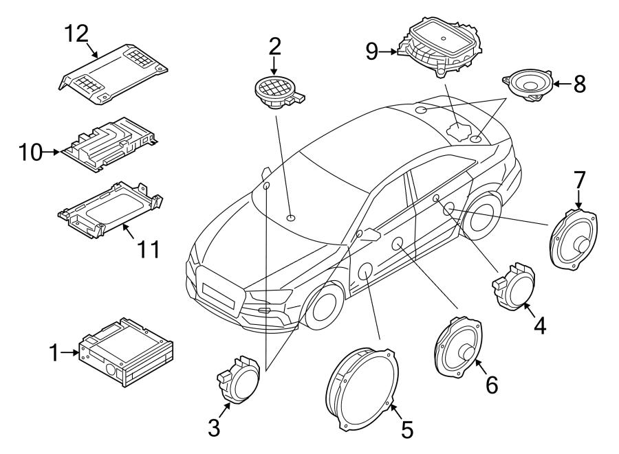 Audi A3 Speaker (Rear). SEDAN, Center, Premium